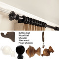 "1 3/8 "" Smooth or fluted decorative wood curtain rod set 4 foot by Kirsch"