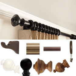 "1 3/8 "" Smooth or fluted decorative wood curtain rod set 12 foot by Kirsch"